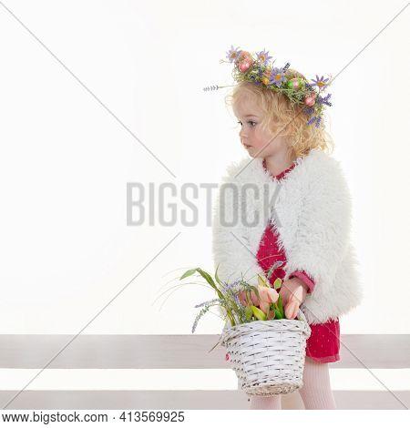 pretty easter egg flower girl with basket