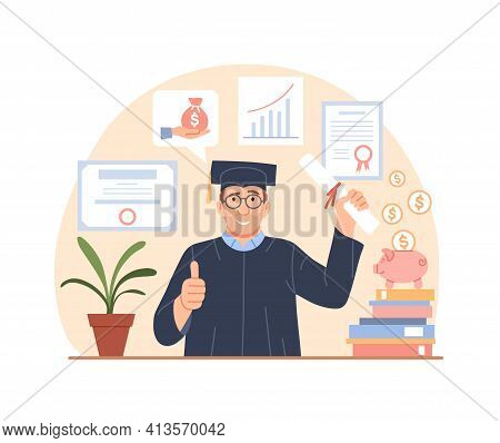 Tuition Fees, Grant Loan Concept. Investment In Education. Flat Graduate With Diploma. Scholarship,