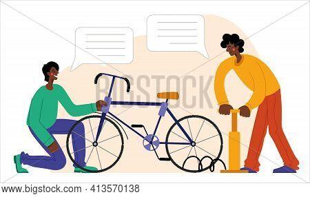 People Are Repairing A Bicycle. Bicycle Repair. The Mechanic Repairs The Bicycle, The Mechanic Infla