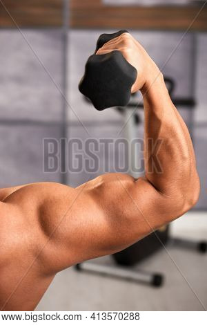 Shirtless muscular man exercising bicep with hand barbell in gym.