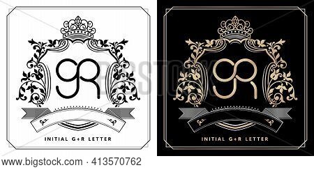 Gr Royal Emblem With Crown, Black White And Black Golds Labels, Initial Letter And Graphic Name Fram