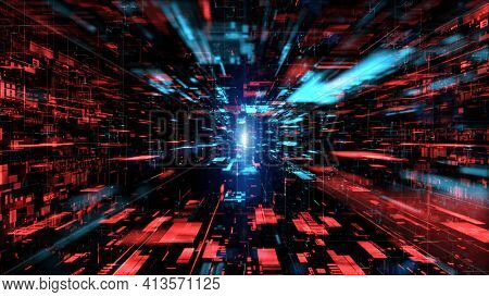 Digital Cyberspace And Digital Data Network Connections Concept. Transfer Digital Data Hi-speed Inte