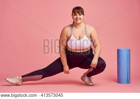 Overweight woman, fitness exercise, body positive