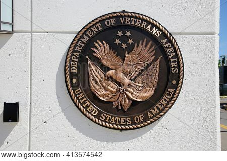 Long Beach, California - USA - March 15, 2021: Sign at the Veterans Affairs complex Long Beach California. Editorial Use Only.