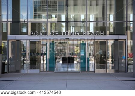 LONG BEACH, CALIFORNIA - 06 MAR 2020: Entrance to and Sign on the exterior of the Port of Long Beach headquarters building.