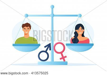 Gender Equality And Womens Rights Concept With Scale Or Balance Containing A Smiling Young Man And W