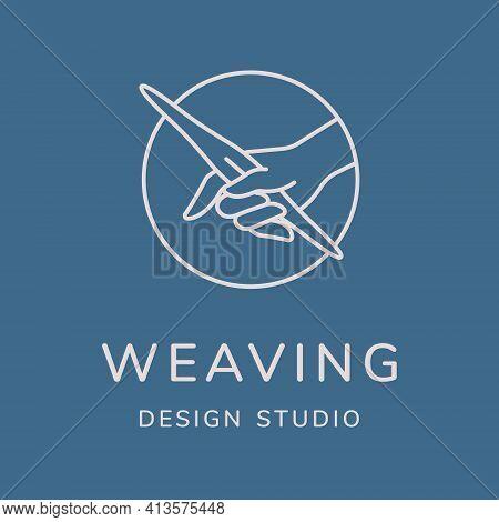 Weaving Vector Logo Design. Line Art Minimal Illustration. Hand With Weaving Shuttle.