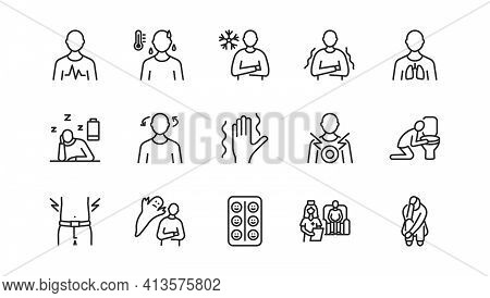 Panic Attack Symptoms Flat Line Icon Set. Vector Illustration Psychological Illness Characterized By