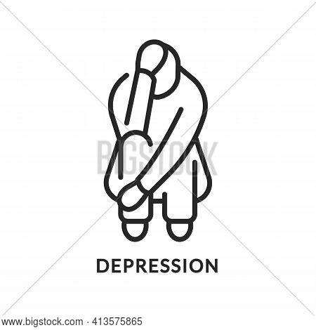 Depression Flat Line Icon. Vector Illustration Mentally Ill Person