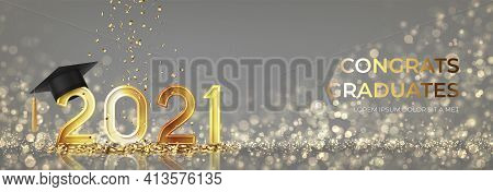 Banner For Design Of Graduation 2021. Golden Numbers With Graduation Cap And Confetti On Background