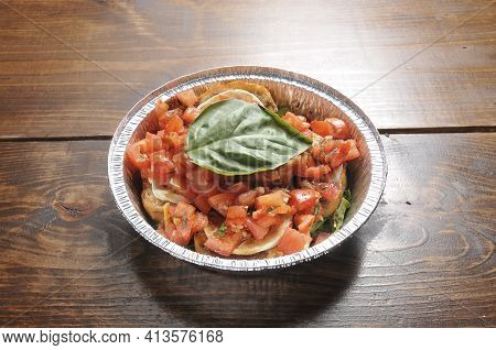Delicious And Delectable Italian Dish Known As Bruschetta