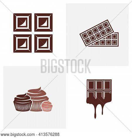 Set Of Chocolate Logo Design Vector Illustration, Creative Chocolate Logo Design Concept Template, S