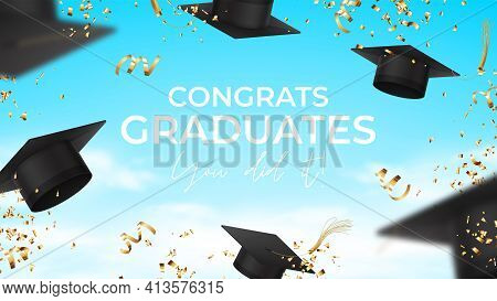Banner For Design Of Graduation. Realistic Graduation Caps, Confetti And Serpentine Flying In The Ai