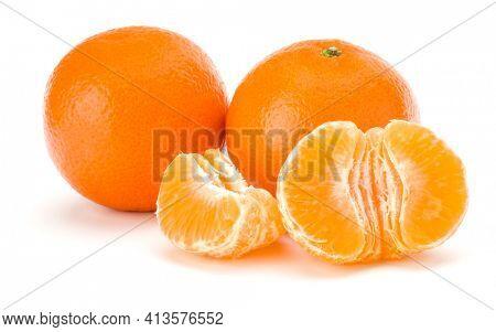 Peeled tangerine or mandarin fruit half  isolated over white background cutout
