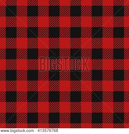 Tartan Lumberjack Red Plaid. Flannel Tartans Texture Vector Illustration With Red And Black Squares