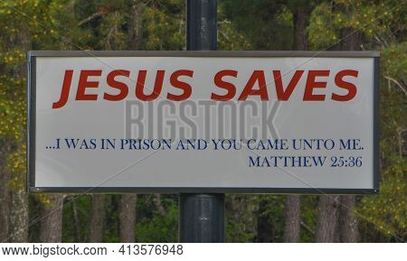 Jesus Saves Sign, He Is The Lord And Savior Of The World, Georgia