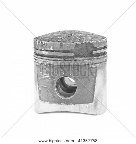 damaged piston from the detonation in the engine poster