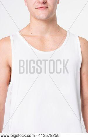 Man wearing basic white tank top sleepwear with design space