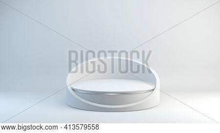 White Pedestal on White background, Blank Pedestal minimal concept template - 3d rendering mockup