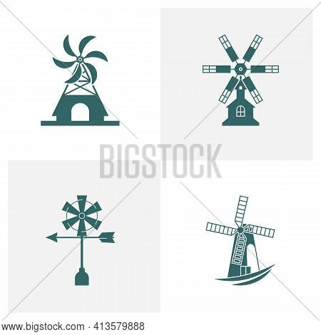 Set Of Windmill Logo Design Vector Illustration, Creative Windmill Logo Design Concept Template, Sym