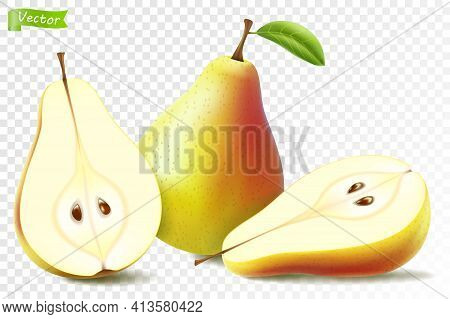 Pear Whole And Half For Organic Food Vector3d Realistic, Drink Product Design. Fresh Sweet Fruit Ful