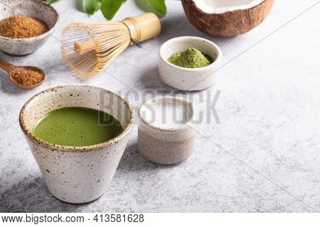 Making Sweet Matcha Latte, Japanese Green Tea With Coconut Milk,  Traditional Bamboo Whisk Chasenon
