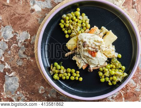 Fish Stew Made From Shiitake Mushrooms Palamida And Green Peas