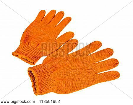 Orange Work Gloves On A White Background. Protective Gloves Of The Builder. Worker Tool. Builder Clo