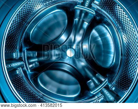 Metal Drum Of The Washing Machine Made Of Stainless Steel. Stainless Steel Tank. Washing Machine Rep