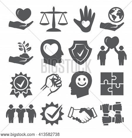 Honesty And Integrity Icons On White Background