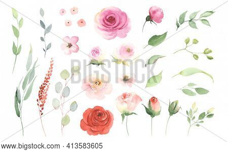 Floral set with simple roses, buds, small flowers, green leaves and branches. Watercolor collection design elements isolated on white background for invitation, greeting cards, date, decorations.