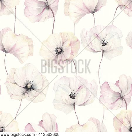 Delicate poppies, seamless floral pattern with tender flowers on ivory background, watercolor illustration.