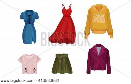 Women Wear With Hoody, Flared Skirt And Jacket Vector Set
