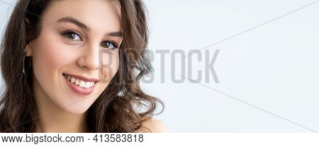 Skincare Banner. Beauty Enhancement. Health Wellness. Relaxed Happy Woman With Perfect Smooth Face S