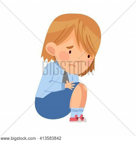 Bullied Girl Sitting Suffering From Mockery And Sneer At School Vector Illustration