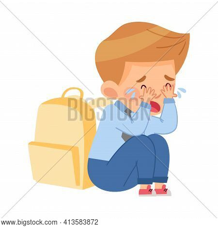 Bullied Boy Sitting With Backpack And Crying Because Of Mockery And Sneer At School Vector Illustrat