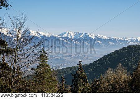 Western Tatras And Liptov Basin From Low Tatras, Slovak Republic. Hiking Theme. Seasonal Natural Sce