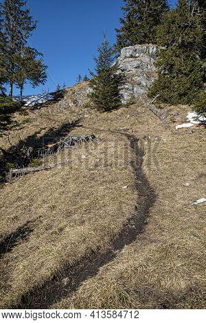 Tourist Path In Low Tatras Mountains, Slovak Republic. Hiking Theme. Seasonal Natural Scene.