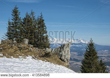 Poludnica Hill In Low Tatras, Slovak Republic. Hiking Theme. Seasonal Natural Scene. Krivan Peak In