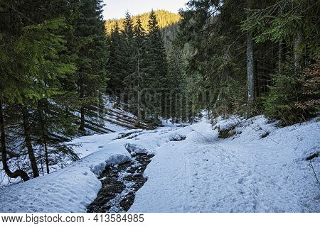 Ilanovska Valley, Low Tatras Mountains, Slovak Republic. Hiking Theme. Seasonal Natural Scene.