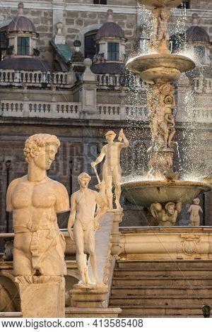 The Praetorian Fountain or Fontana Pretoria in Palermo, Sicily, Italy. Landmarks of Sicily.