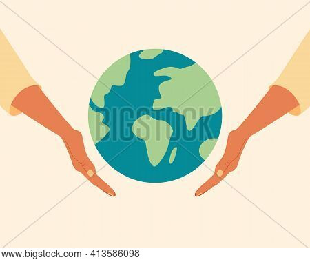 Black Skin Hands Holding Globe, Earth. Earth Day Concept. Earth Day Vector Illustration For Poster,