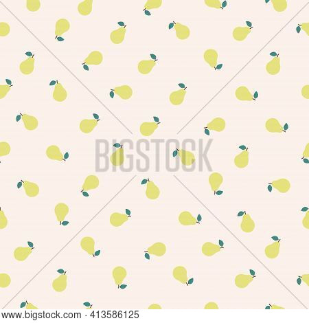Vector Seamless Pear Pattern. Background Design For Print, Wrapping Paper, Packaging, Fabric, Textil