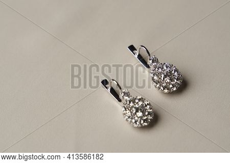 Platinum Earrings With Diamonds, Close-up