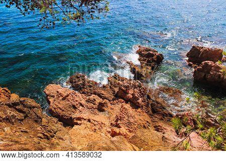 Mediterranean Rocky Coast With Turquoise Water In Spain. Awsome Mediterranean Landscape.