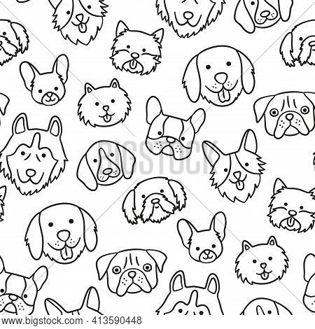 Seamless Pattern With Heads Of Different Breeds Dogs. Corgi, Pug, Chihuahua, Terrier, Husky, Pomeran