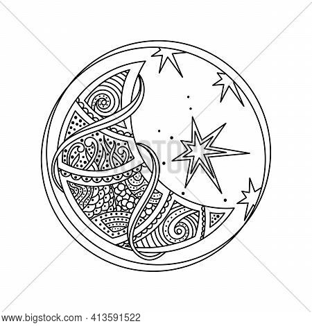 Coloring Book Page For Adults. The Moon ,crescent Is Decorated With Fantastic Patterns, The Stars In