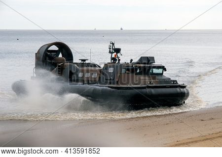 Cleethorpes, North East Lincolnshire, England, Uk - June 25, 2016: Military Hovercraft Coming Ashore
