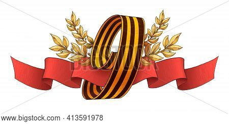 9 May Vector Banner. Happy Victory Day Russian Memory Day. The Number 9, Made Of Black And Orange Co