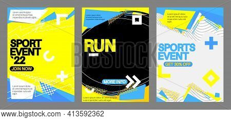 Sport Poster. Banner Template For Fitness, Sport Action, Training, Workout, Gym. Design With Dynamic